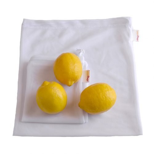 Produce-Mesh-Bag-Grocery-Bags-white-veggie-bag-with-string-closure-zero-waste-gogoBags-Vancouver-online-shop-canada-lemons