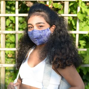 Reusable fitted mask-purple-paisleys-teen