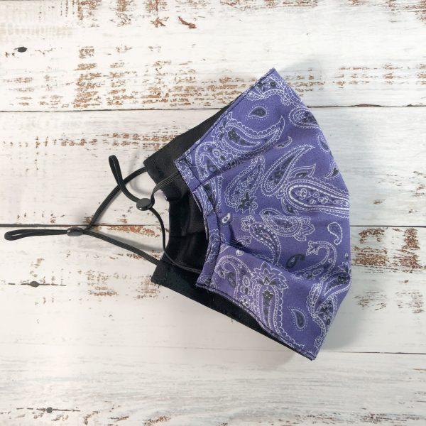 Purple Dream Bandana pleated reusable Face Mask - gogoBags - Vancouver - Canada