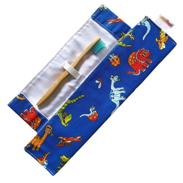 Dinosaur toothbrush bag - handmade reusable-gogoBags vancouver