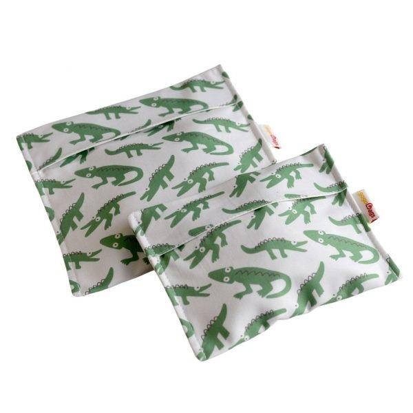 Happy-reptiles-set-snack-bag-handmade-cotton-reusable-bag-gogobags-vancouver-canada